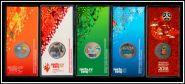 5 цветных монет ГОСЗНАКА - СОЧИ 2014 + ФУТБОЛ 2018, в блистерах, голограммы. СУПЕР ЦЕНА