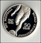 Ниуэ 50 долларов 1990 г. ЧМ по футболу в Италии серебро пруф (большая монета, кронового размера)