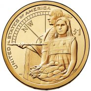 1$ Сакагавея 2014 г Помощь индейцев монетный двор Р и D из ролла