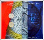 Франция 2001 официальный набор 1 евро +1 франк