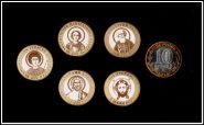 10 рублей 2014 года цветная, гравировка. Серия Святые! Набор 5 штук