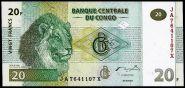 Конго 20 франков 2003 г лев ПРЕСС