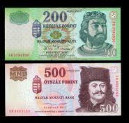 Набор ВЕНГРИЯ 200 форинтов 2007 и 500 форинтов 2013 ГОДА ПРЕСС