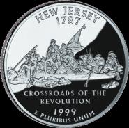 25 центов США 1999г - Нью-Джерси, UNC - Серия Штаты и территории