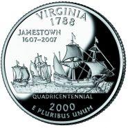 25 центов США 2000г - Виргиния, UNC - Серия Штаты и территории